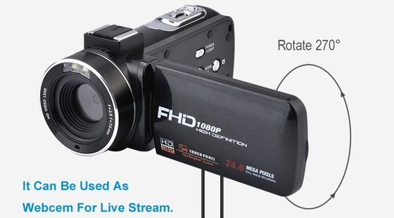Camcorder With Microphone And Rotating Screen