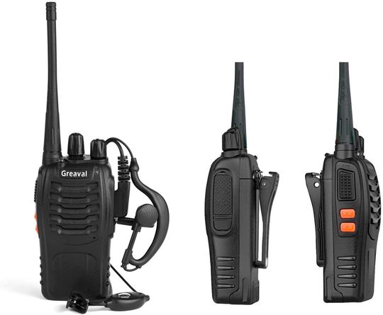 Walkie Talkies With Black Wired Earpieces