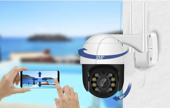 Outdoor Rotating CCTV Dome Camera In White