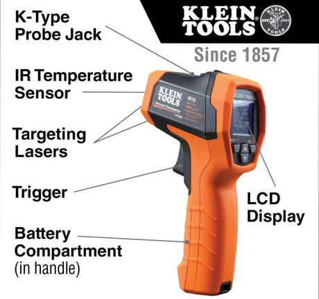 Non Contact Thermometer Showing Red Laser Track