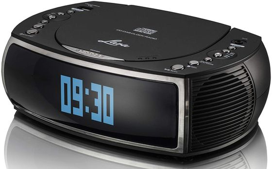 CD Alarm Clock Radio With Blue LCD Digits