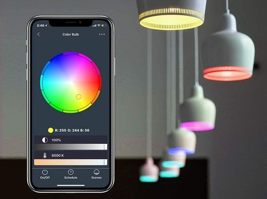 WiFi Multi-Colour Bulbs With Black Mobile