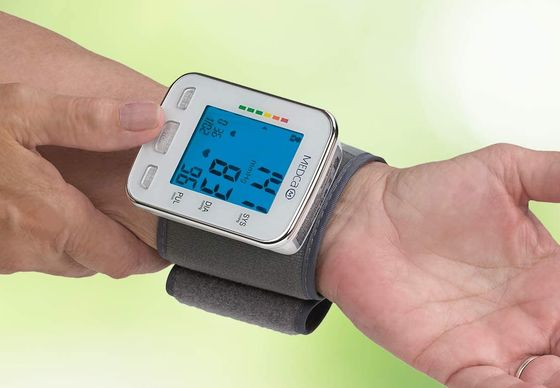 Wrist Automatic Blood Pressure Monitor With Blue LCD
