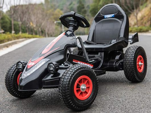 Children's Go-Kart With Black Red Wheels