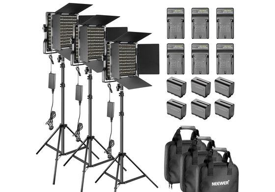 Studio Lighting Set-Up With Black Bags