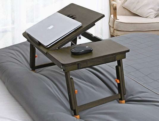 Tablet Stand Desk For Bed In Dark Wood