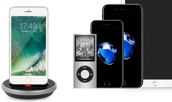 Dock Station Audio Speaker With iPad And iPhone Docked