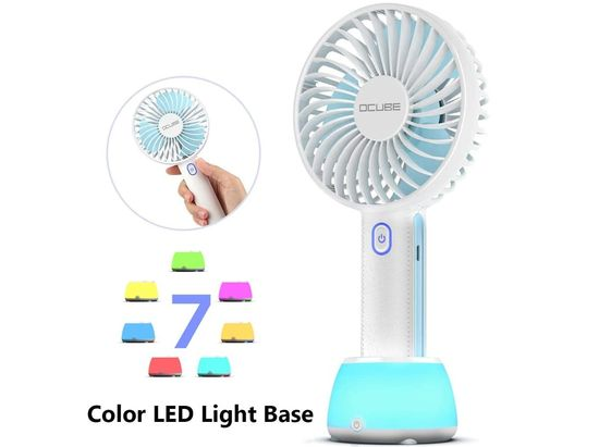 Hand Held Fan With LED Lit Base