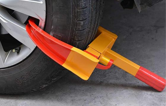 Heavy Duty Wheel Clamp In Red Orange