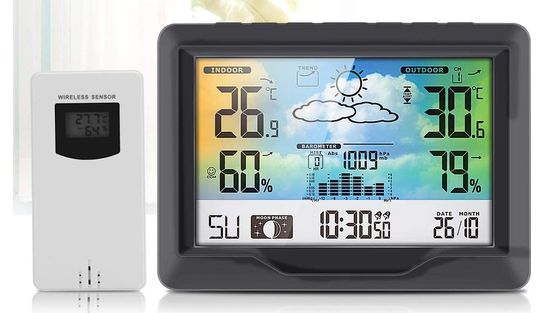 Indoor Outdoor Weather Station With White Sensor