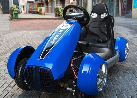 Blue Go Kart With Black Padded Seat