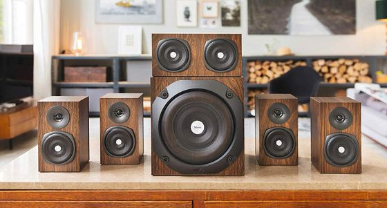 5.1 Surround Speakers In Brown On Desk