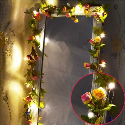 LED String Lights Draped Over Mirror