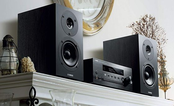CD Micro System In Black On Mantelpiece