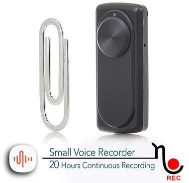 Black Voice Recorder With Paper Clip