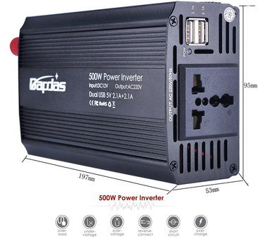 12v 1000W Inverter With White USB Ports