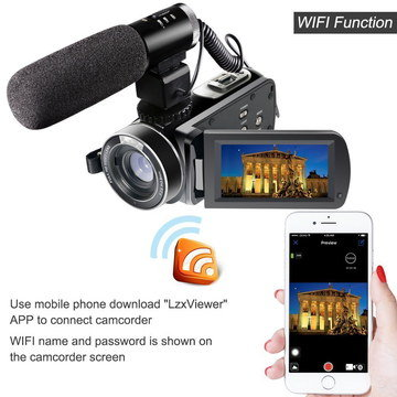 HD Camcorder With Black Microphone