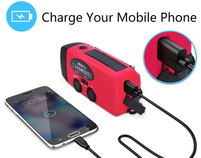 Water Proof Wind-Up iPhone Charger Torch In Red