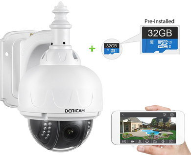 Dome Surveillance Camera In White With Blue SD Card