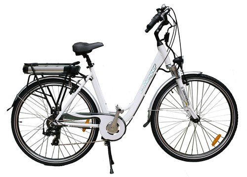 White Step Through Electric Bike