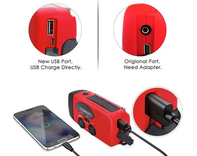 Wind-Up Mobile Phone Charger In Black And Red