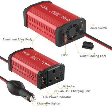 Car 12V To 240V Inverter In Red With LED