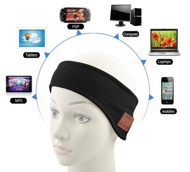 Headphone Band For Jogging In Dark Stretch Fabric