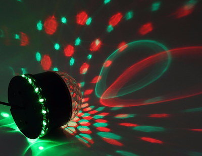 Stage LED Rotating Ball Producing Red Patterns