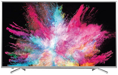 Wide 4K 55 Inch TV With Smooth Steel Stand