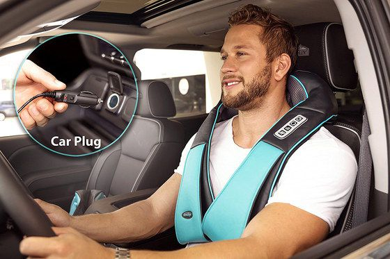 Shiatsu Car Neck Massager On Man's Back