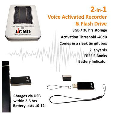 USB Voice Activated Recorder With Tin Box
