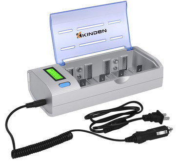 Universal Battery Charger 4 Slot With Clear Lid