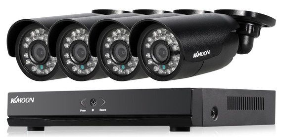 4 Cam HD CCTV Black Cameras