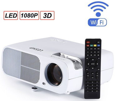 Wireless 3D HD Projector With Black Remote