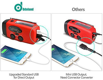 Hand Held Cell Phone Charger With Radio In Red