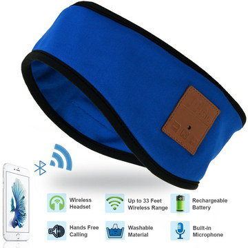 Sweat Proof Headphones To Sleep In Blue Textile
