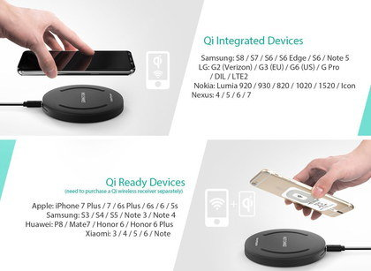Qi Wireless Charging Station With Mobile Above Pad