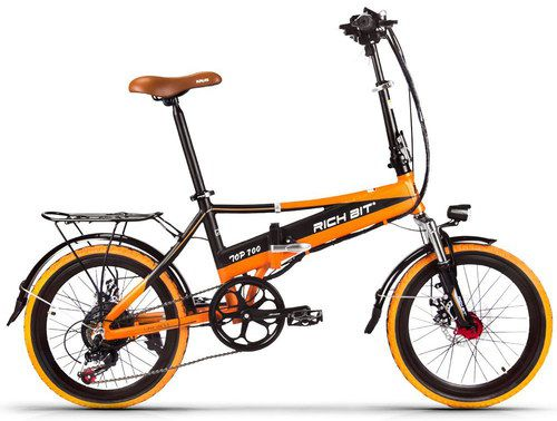 Folding Ladies E-Bicycle In Orange And Black