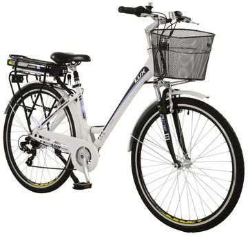 Ladies Hybrid City E-Bike In White