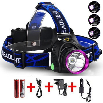 High-Power LED Head Torch With Blue Band