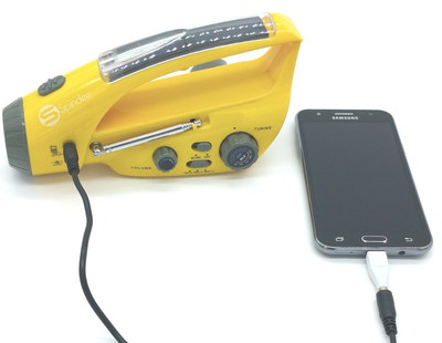 Flashlight Hand Crank Phone Charger In Yellow