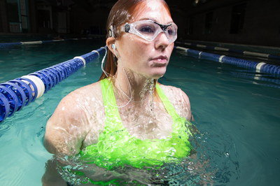 Waterproof Headphone Worn By Woman In Pool