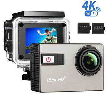 Black WiFi 4K Action Camera With SD