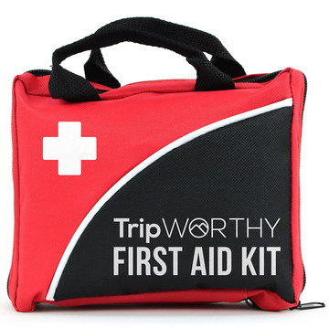 Vehicle 1st Aid Kit In Red With Black Strap