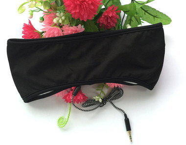 Sleep Headphone In Black Mask Style With Flowers