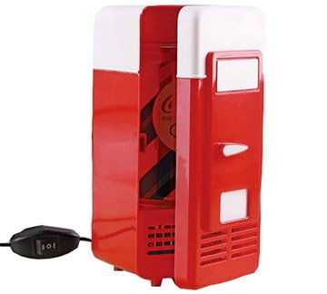 USB Small Mini Fridge In Red And White