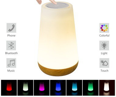 Bluetooth Speaker Light With Wooden Bottom