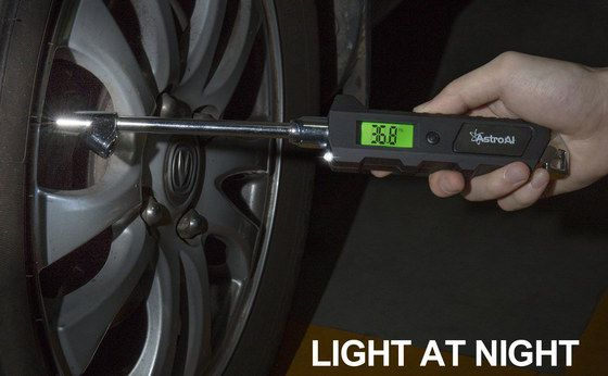 Tyre Pressure Gauge In Black With Light