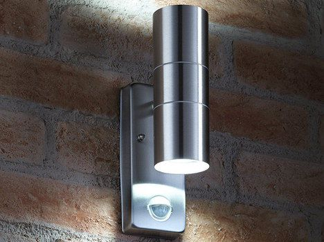 Polished Steel PIR Porch Light On Wall