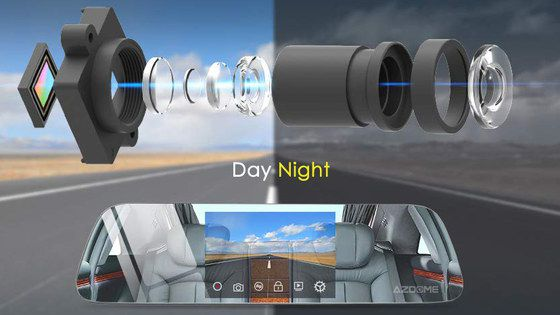 GPS Mirror Dash Cam Showing Night And Day